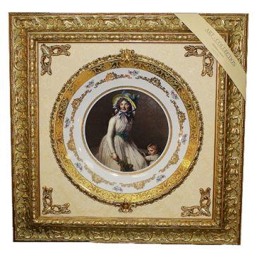 Панно с керамической тарелкой «Девушка с ребенком»