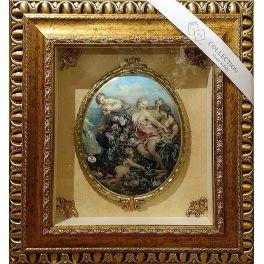 Панно с керамическим медальоном «Девушки с ангелом»