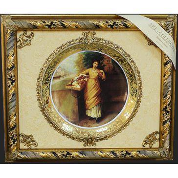 Панно с керамической тарелкой «Цветочница», Италия