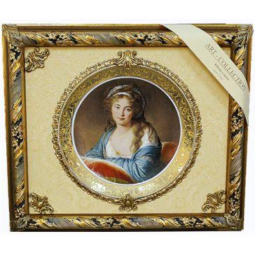 Панно с керамической тарелкой «Девушка»