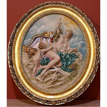 Красивое панно из фарфора «Венера и купидон», тонкая ручная работа