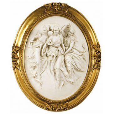 Овальное панно ручной работы «Три грации», материал: бисквитный фарфор