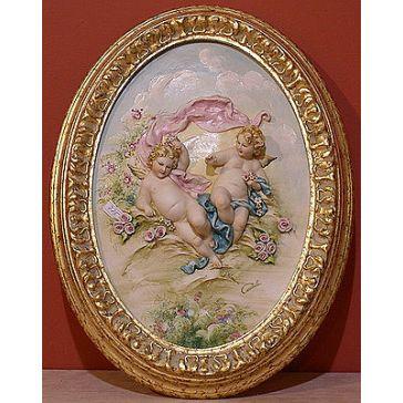 Фарфоровая картина «Ангелочки с розами» в овальной раме, 29х43 см