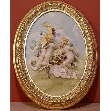 Фарфоровая картина «Ангелочки с виноградом» в овальной раме