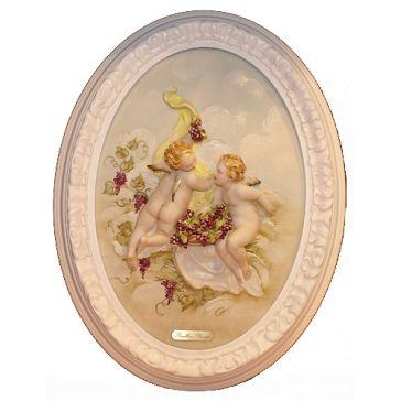 Овальное панно из фарфора «Ангелочки с виноградом», размер 29х43 см