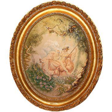 Барельеф из фарфора «На качелях» в овальной раме, 52х62 см