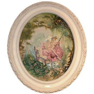 Барельеф из фарфора «На качелях» в белой раме, сделано в Италии