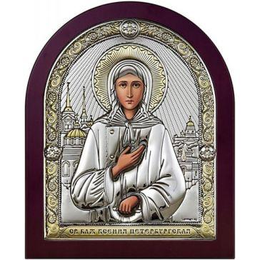 Посеребрённая икона «Святая Блаженная Ксения Петербургская»