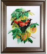 Картина «Две птички на персиковом дереве»