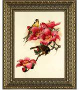 Картина «Две птички в розовых цветах»