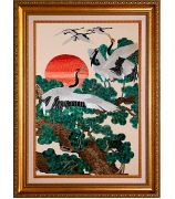 Картина «Японские красноголовые журавли у пихт»