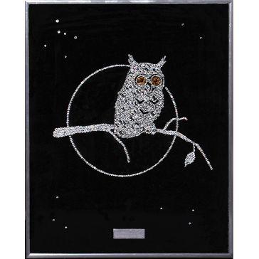 Картина с кристаллами Сваровски «Сова на ветке»