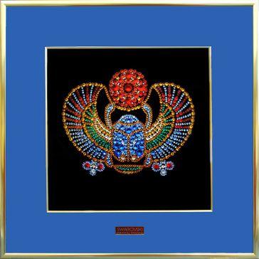 Картина «Жук скарабей» с инкрустацией кристаллами Сваровски