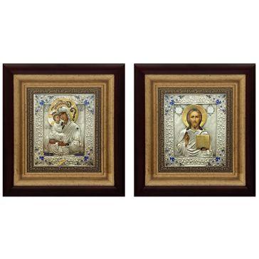 Венчальная пара: икона Божией Матери «Почаевская» и икона «Господь Вседержитель»