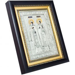 Икона в посеребренном окладе «Петр и Феврония Муромские»
