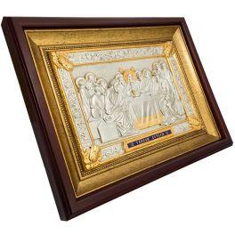 Подарочная икона с посеребрением «Тайная вечеря», ручная работа
