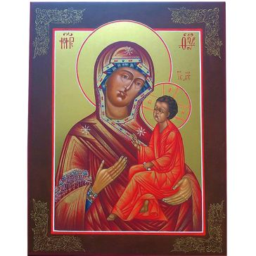 Живописная икона Богородицы  «Тихвинская» на доске из липы
