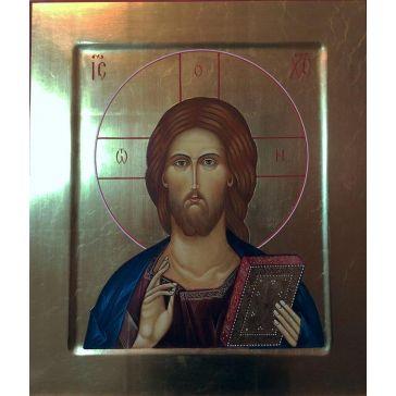 Живописная икона «Господь Вседержитель» на доске из липы
