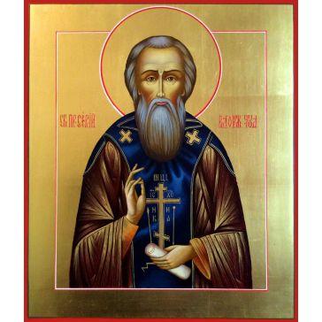 Живописная икона «Преподобный Сергий Радонежский чудотворец» на доске из липы