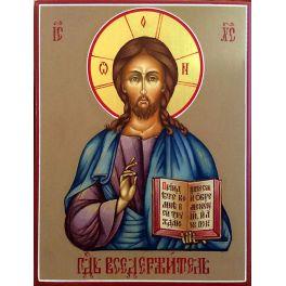 Живописная икона «Господь Вседержитель» на золоте