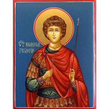 Живописная икона «Святой Георгий Победоносец» на золоте