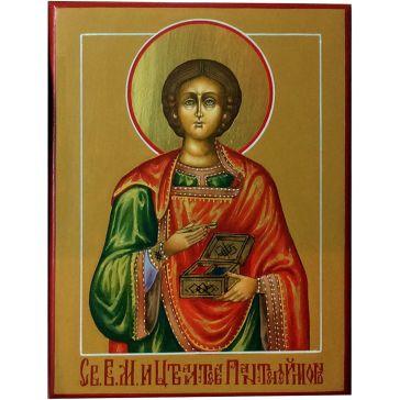 Живописная икона «Святой Великомученик и Целитель Пантелеймон» на доске