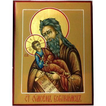 Живописная икона «Симеон (Семен) Богоприимец» на золоте
