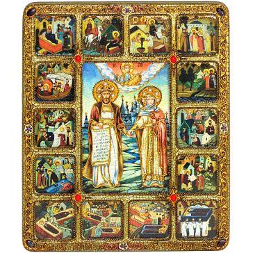 Подарочная икона «Пётр и Феврония» с житийными сценами, в деревянной шкатулке