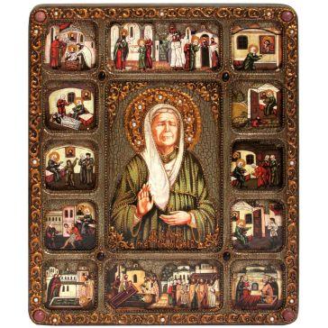 Большая икона «Блаженная старица Матрона Московская» с житийными сценами