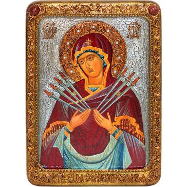 Живописная икона Богородицы «Семистрельная» на кипарисовой доске
