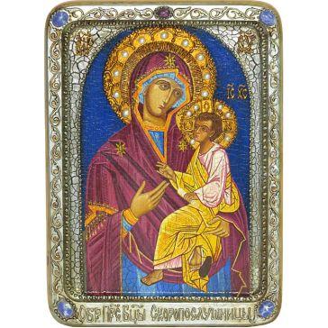 Живописная икона с натуральными камнями Богородица «Скоропослушница», со свидетельством в деревянной шкатулке