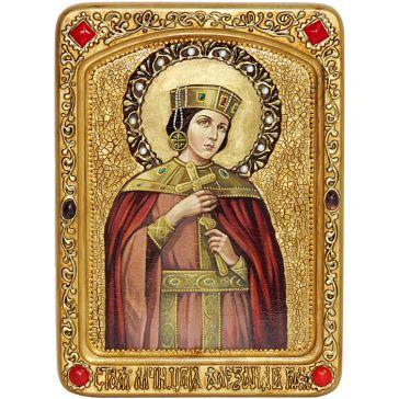 Живописная икона в шкатулке «Святая мученица Александра Римская», на кипарисовой доске размером 21х29 см