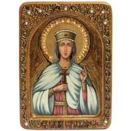 Живописная икона «Святой благоверной княгини Елены Сербской» на кипарисе