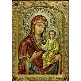 Большая икона живописная «Смоленская Божия матерь» на доске из кипариса