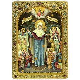 Живописная икона Божией Матери «Всех Скорбящих Радость с грошиками» в киоте