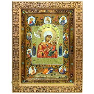 Живописная икона Божией Матери «Тихвинская Хлебенная (Запечная)», 29х42 см, в киоте