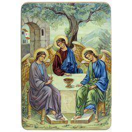 Живописная икона в берёзовом киоте «Троица», производство Россия
