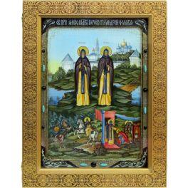 Живописная икона «Святые преподобные Александр (Пересвет) и Андрей (Ослябя) Радонежские» на доске из кипариса, в киоте