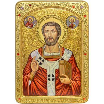 Большая живописная икона «Священномученик Климент, папа Римский» на доске из кипариса, в киоте
