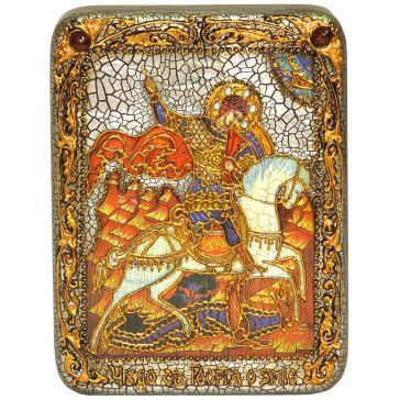 Икона «Чудо святого Георгия о змие» на доске
