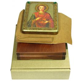 Подарочная икона «Святой Великомученик и Целитель Пантелеймон» с номерным свидетельством