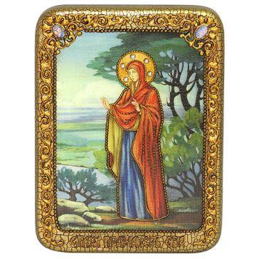 Красивая икона «Святая праматерь Ева» со свидетельством в подарочной деревянной шкатулке