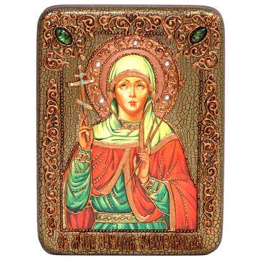 Подарочная икона «Святая мученица Виктория Кордувийская» в берёзовой шкатулке