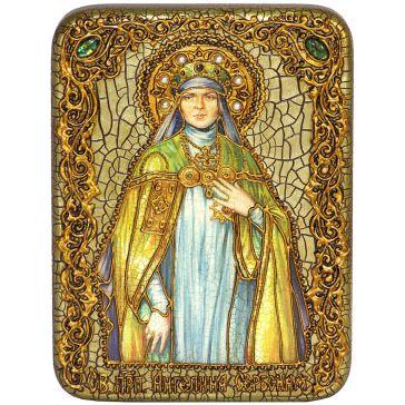 Икона «Святая преподобная Ангелина Сербская» на морёном дубе