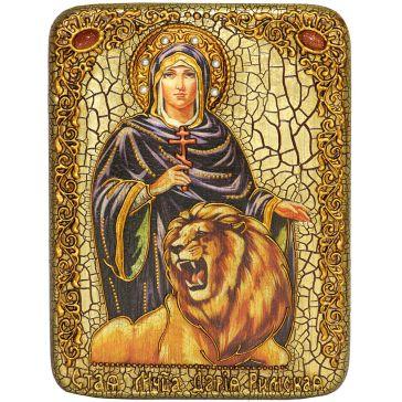 Икона «Святая мученица Дария Римская» на морёном дубе