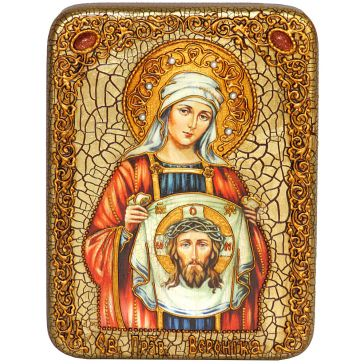 Подарочная икона «Святая Праведная Вероника Кровоточивая» на морёном дубе
