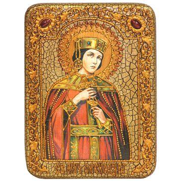 Икона на дубовой доске размером 15х20 см «Святая мученица Александра Римская», со свидетельством