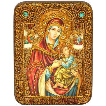 Подарочная икона Пресвятой Богородицы «Страстная» на доске из дуба