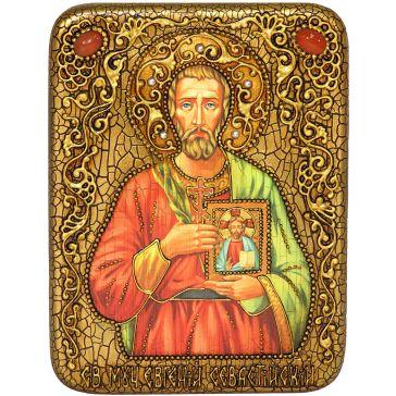 Подарочная икона на морёном дубе «Святой мученик Евгений Севастийский»