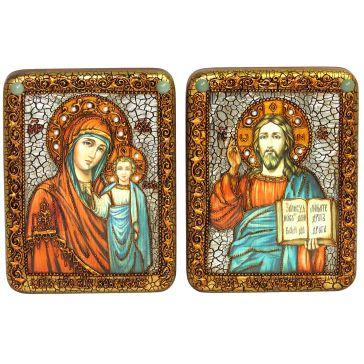 Венчальная пара икон «Казанская икона Божией Матери» и «Господь Вседержитель»